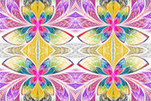 Multicolored symmetrical pattern in stained-glass window style. — Stock Photo