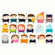Постер, плакат: Pixel Characters people icons set