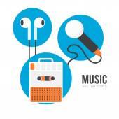 Music equipment icons set — Stock Vector