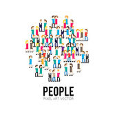 Pixel People icons — Stock Vector