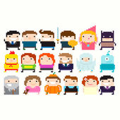 Pixel Characters, people icons set — Stock Vector