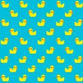 Pixel Duck seamless pattern — Stock Vector