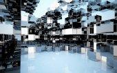 Abstraktní interiér (krabice různých materiálů) — Stock fotografie