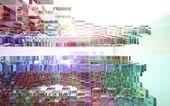 Abstracte interieur van gekleurde glazen blokken — Stockfoto