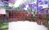 Astratto interno di blocchi di vetro colorato — Foto Stock
