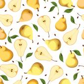 Seamless background with pears. Vector illustration. — Stock Vector