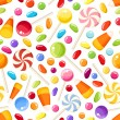 Seamless background with Halloween candies. Vector illustration. — ストックベクタ #51997407
