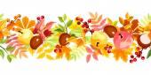 Fondo transparente horizontal con coloridas hojas de otoño. ilustración vectorial. — Vector de stock