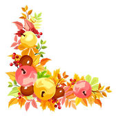 Vector corner with colorful autumn leaves. — Stockvector