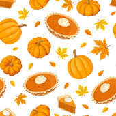 Seamless pattern with pumpkin pies and pumpkins. Vector illustration. — Stock Vector