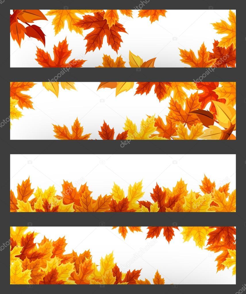 矢量与色彩鲜艳的秋叶的横幅.eps
