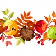 Horizontal seamless background with colorful autumn leaves, apples and cones. Vector illustration. — Stock Vector #53640867