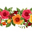 Horizontal seamless background with red and yellow roses and freesia. Vector illustration. — Stock Vector #53773323