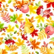 Vector seamless pattern with autumn leaves of various colors, apples and rowan berries on a white background. — Stock Vector #53830871
