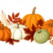 Horizontal seamless background with pumpkins and autumn leaves. Vector illustration. — Vector de stock  #54282687