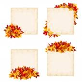Vector beige cards with colorful autumn leaves. — Stock Vector
