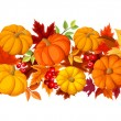 Horizontal seamless background with colorful pumpkins and autumn leaves. Vector illustration. — Stok Vektör #54733125