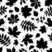 Seamless pattern with black silhouettes of autumn leaves on white. Vector illustration. — Stock Vector