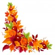 Corner background with pumpkins and colorful autumn leaves. Vector illustration. — Stock Vector #55197349