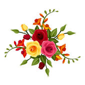 Red and yellow roses and freesia flowers. Vector illustration. — Stock Vector