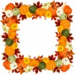 Frame with pumpkins and autumn leaves. Vector illustration. — Stock Vector #56428345