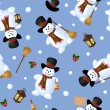 Christmas seamless background with snowmen. Vector illustration. — Stock Vector #58303291