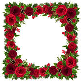 Christmas frame with roses, holly, fir branches and cones. Vector illustration. — Stock Vector