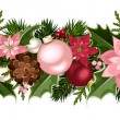 Christmas seamless garland with balls, holly, poinsettia and cones. Vector illustration. — Stock Vector #59082691