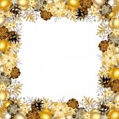 Christmas frame with gold and silver balls. Vector illustration. — Stock Vector