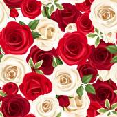 Seamless pattern with red and white roses. Vector illustration. — Stock Vector