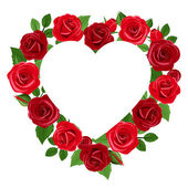 Background with heart and red roses. Vector illustration. — Stock Vector