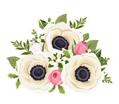 Bouquet of white anemone flowers and pink rosebuds. Vector illustration. — Stock Vector