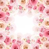Frame with pink and white roses. Vector eps-10. — Stok Vektör