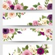 Vector banners with colorful roses, lisianthus and anemone flowers. — Stock Vector #67046969