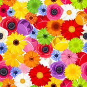 Seamless background with colorful flowers. Vector illustration. — Stock Vector