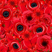 Seamless background with various red flowers. Vector illustration. — Stock Vector