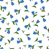 Seamless pattern with blue flowers. Vector illustration. — Wektor stockowy