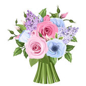 Bouquet of pink, blue and purple roses, lisianthus and lilac flowers. Vector illustration. — Stock Vector