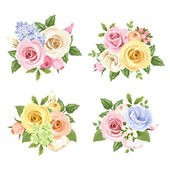 Set of bouquets of colorful roses and lisianthus flowers. Vector illustration. — Stock Vector