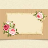 Vintage card with red and pink roses. Vector eps-10. — Stock Vector