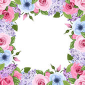 Frame with pink, blue and purple roses, lisianthus and lilac flowers. Vector illustration. — Stock Vector