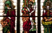 France, stained glass window in Poissy collegiate church — Stock Photo