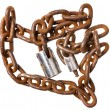 Old rusty chain with a lock — Stock Photo #54059073