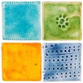 Handmade ceramic tiles — Stock Photo