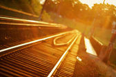 De focused railroad track — Stock Photo