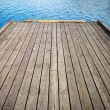 Wooden floor and lake — Stock Photo #65918143