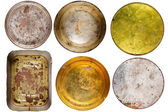 Rusty round metal cans — Stock Photo
