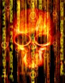 Digital abstract background with skull  — Stock Photo