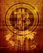 Digital abstract background with bitcoin symbol and world map — Stock Photo