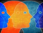 Four heads colors digital illustration — ストック写真
